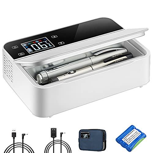 Tragbare Insulin Kühlbox 2-8°C Medikamenten Kühlschrank Mini Intelligente Elektrische Auto Kühlschrank, FüR Reisen/Interferon/Lagerung Von Arzneimitteln, Weiß