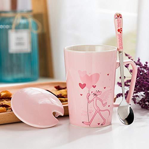 HUANGHHLL Taza De Cerámica Rosa Pantera Traviesa De Dibujos Animados Tazas De Té De Jugo De Leche Latte De Cerámica con Tapa Cuchara Cumpleaños-Corazón