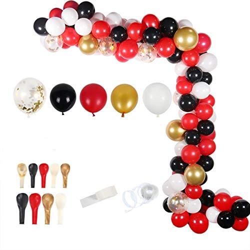 Ballon Girlande Ballonbogen Kit 5m Lange Luftballon Geburtstag Party Dekoration Junge Kindergeburtstag Deko,Happy Birthday 110 Stück Schwarz, Rot und Gold Ballons