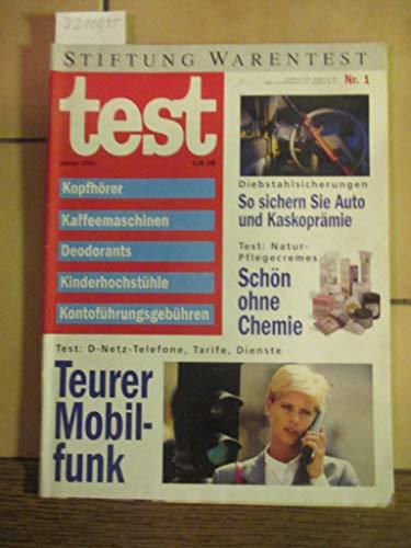Stiftung Warentest Heft Nr. 1 / 1994: Kopfhörer, Kaffeemaschinen, Deodorants, Kinderhochstühle, Kontoführungsgebühren, Naturpflegecremes
