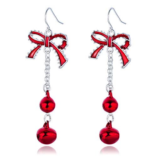 Lightweight Christmas Red Bow Knot Piercing Dangle Earrings Jingle Tassels Silver Plated Women Girls Holiday Gift