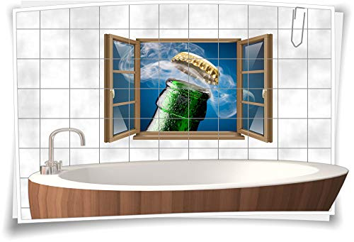 Medianlux Fliesen-Aufkleber Fliesen-Bild Fenster Bier-Flasche Deckel Kronkorken Kalt Blau Bad WC Aufkleber Folie Deko Digitaldruck, 120x78cm, 15x20cm (BxH) wb22fb466-116718