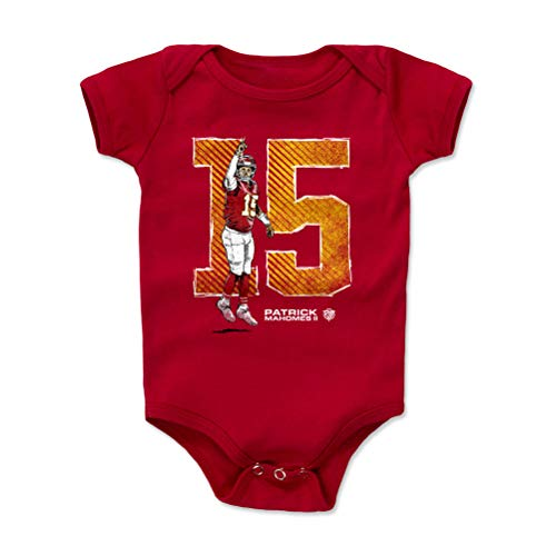 1UP Sports Marketing Patrick Mahomes Baby Clothes, Onesie, Creeper, Bodysuit (Onesie, 3-6 Months, Red) - Patrick Mahomes 15 WHT