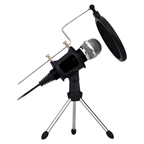 Exceart Condensator Microfoon Studio Opname Microfoon Met Shockmount Draagbare Mini Desktop Microfoon Voor Thuis Omroep Telefoon Computergebruik (Zwart)