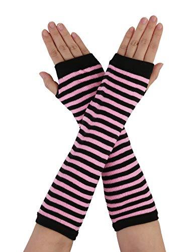 Sourcingmap Damen Elastisch Fingerlos Herzdruck Streifen Strick Handschuhe Schwarz-Rosa One Size