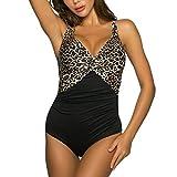 WIN.MAX Baadores de Mujer Traje de una Pieza con Relleno Baador Push up Ropa de Bao Slim Fit Cuerpo Atractivo Baera Bikini (Leopardo & Negro, EU40)