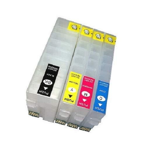 Navulbare Quickfill - Fill-In inktpatronen met Auto Reset Chips zoals T3581, T3582, T3583, T3584 en T3591, T3592, T3593, T3594, T35 XL zwart, cyaan, magenta, geel