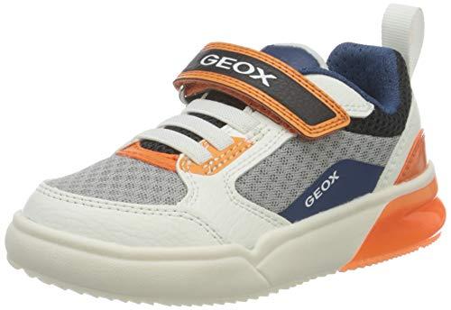 Geox J GRAYJAY Boy D, Scarpe da Ginnastica Bimbo 0-24, Bianco/Arancio, 26 EU