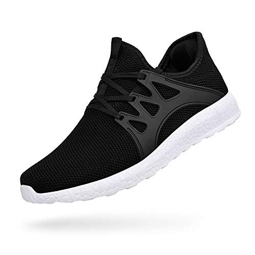 MARSVOVO Mens Sneakers Running Tennis Shoes Ultra Lightweight Air Knitted Breathable Mesh Fashion Athletic Gym Sports Non Slip Casual Walking Shoes Black White Size 11