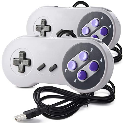2 Pack SAFFUN Retro SNES USB Controller Gamepad, USB PC Super Classic Controller Joypad for Windows PC Mac Linux Raspberry Pi Sega Higan Emulator (Grey)