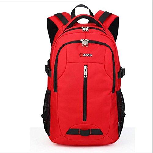 Lacaca KAKA portatile zaino del computer portatile del sacchetto di Daypack viaggio Borsa Borsa escursionismo 35L (Rosso)
