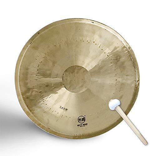 ASY Doppelte weiße Gongs Trommeln mit Mallet Traditionelle chinesische Bronze Gong Fengshui Gongs Musikinstrumente für Peking Opera Opera Troupe Drama (Size : 50cm/19.68in)