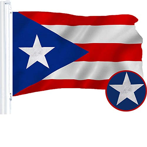 G128 – Puerto Rico (Puerto Rican) Flag   3x5 feet   Embroidered 210D – Indoor/Outdoor, Vibrant Colors, Brass Grommets, Quality Polyester