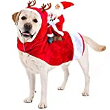 Kyerivs Dog Christmas Costume Dog Santa Claus Costume Dog Cat Christmas Holiday Outfit Pet Christmas Clothes Running Santa Claus Riding on for Medium to Large Sized Dogs L
