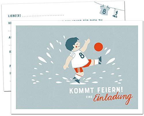 12 Einladungskarten Kindergeburtstag - Fußball - Geburtstagseinladungen für Jungen, Postkarten Set für Kinder, Geburtstag oder Einschulung, Fußballer Design, Blau Weiß Rot