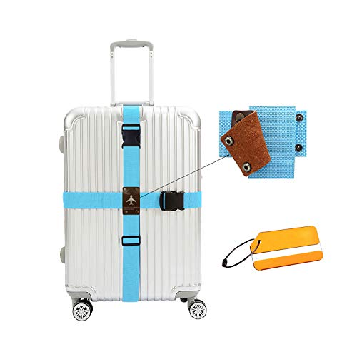 WESTONETEK Heavy Duty Detachable Adjustable Long Cross Travel Luggage Strap Packing Belt Suitcase Baggage Security Straps with Additional Luggage Tags Labels, Light Blue