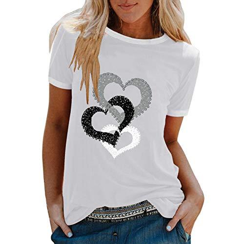 YANFANG Camiseta De Manga Corta Suelta con Cuello Redondo Y Estampado Informal A La Moda para Mujer, Blusa Superior, Jersey Camisetas Mujer Raya Blusas Tops FiestaXXLWhite