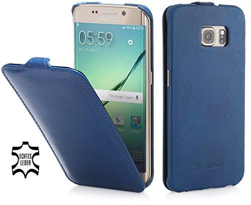 StilGut UltraSlim Hülle, Hülle Tasche aus Leder für Samsung Galaxy S6 Edge, Nachtblau