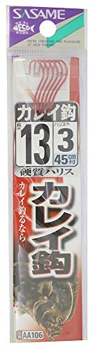 ささめ針(SASAME) AA106 カレイ鈎 赤 糸付 13号