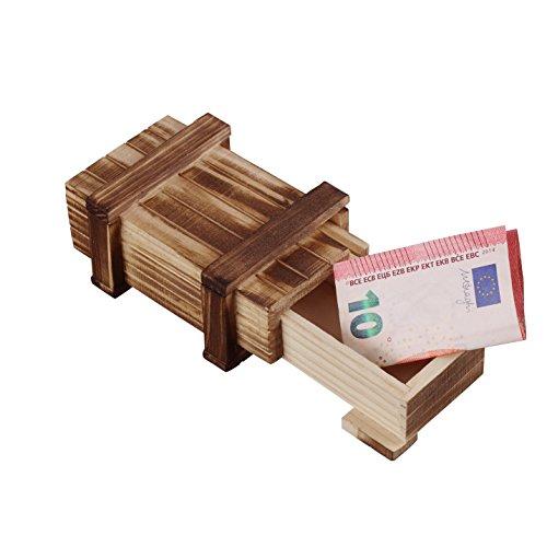 MS-Versand Zauberhafte Holzgeschenkbox - zum kreativen Verschenken von Gutscheinen, Schmuck und Geld (klein 10,5 x 4,5 x 6,5 cm)
