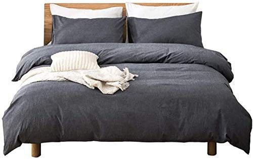 QIDI Grey duvet cover and 2 pillowcases 1 sheet, duvet cover, bedding set king size 4 pieces, made of cotton and polyester blend with hidden zipper and corner straps, delicate hand feel, comfortable a