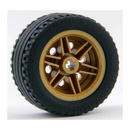 Lego Technic Technik 4 Räder Rad Reifen 23 x 7 weisse Felgen Kreuzloch #21