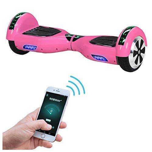 Robway W1 Hoverboard - Das Original - Samsung Marken Akku - Self Balance - 22 Farben - Bluetooth - 2 x 350 Watt Motoren - App - Led (Pink)