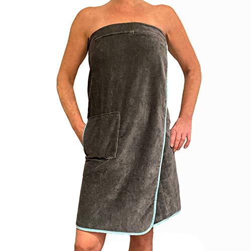 HOMELEVEL Saunakilt für Damen mit Klettverschluss und Tasche aus 100% Baumwolle Sauna Kilt Sarong Anthrazit/Mint, Damen Anthrazit/Mint, S-XXL