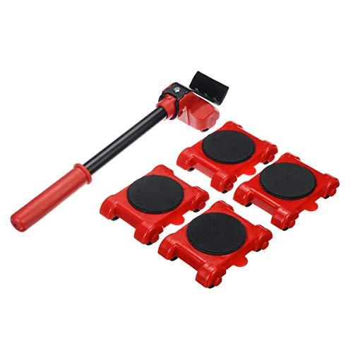 GEMITTO Möbel-Transportroller-Set 5-teilig, Transport Set Möbel-Gleitsystem 4 Möbelroller und 1 Lastenheber | Je 150 kg Tragkraft | Anti-Rutsch-Beschichtung | Verschieben von Möbeln | Umzugshelfer