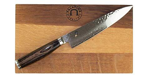 Palatina Werkstatt ®/ Kai Shun Classic Tim Mälzer Geschenkset | Allzweckmesser TDM-1701 | 15 cm Klinge aus Damaststahl + massives Fassholzbrett 25x15 cm| | VK: 215,-