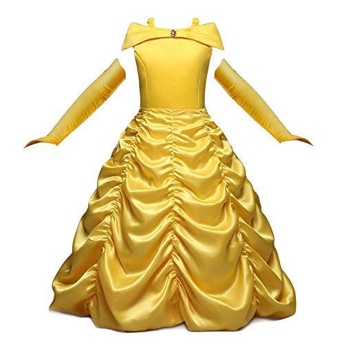 NNDOLL Dettagli su Belle Principessa Vestito Beauty Beast Costume Bambina Carnevale Abito Giallo 02-130/5-6 Anni