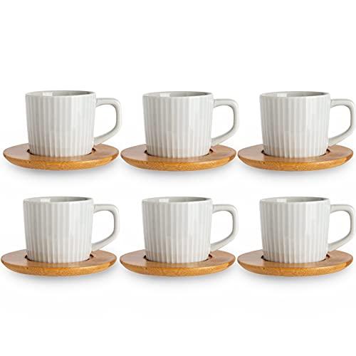 SOPRETY Set di tazze da caffè per 6 persone, in ceramica, con sottobicchiere in bambù (12 TLG), per tè, caffè espresso, 90 ml, lavabili in lavastoviglie (grigio)