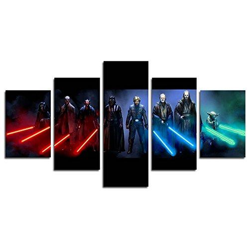 YspgArt66 Print Canvas, 5Stücke Jedi und Sith Star Wars Leinwand Kunst Gemälde für Home Wohnzimmer Büro Trendig eingerichtet Dekoration Geschenk (ungerahmt)…