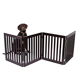 BIRDROCK Home Traditional Pet Gate – 4 Panel – 24 Inch Step Over Fence – Free Standing Folding Z Shape Indoor Doorway Hall Stairs Dog Puppy Gate – Fully Assembled – Espresso – MDF