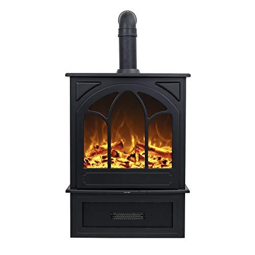 Noble Flame York – klassischer Elektrokamin Standkamin Kaminofen – modernes LED Feuerambiente inkl. Heizfunktion – Gusseisen-Optik & Ofenrohr