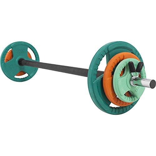GORILLA SPORTS® Langhantel-Set Aerobic 19,3 kg Gummi Gripper – Langhantelstange, Gewichtsscheiben und Federverschlüsse