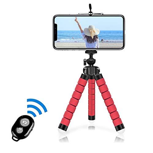 Alfort Treppiedi Cellulare, Portatile Treppiede Smartphone con Telecomando Bluetooth,360°Rotazione Flessibile Mini Treppiede per iPhone/Galaxy/Honor/Xperia/Redmi (5.5'') Rosso