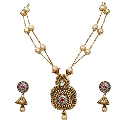 JewelryOnClick Astonish Necklace with Jhumki Earrings Gold Plated Ruby, Moti Indian Handmade Unique Bridal Collection Jewellery for Women Girls