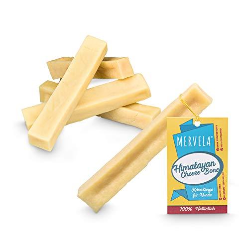 MERVELA Käse-Kauknochen für mittlere und mittelgroße Hunde, 61-91 Gramm, Kauspass, 100% natürlich, Hundesnack Natur, Cheese Bone und Dog Chew (Medium (5 Stück))