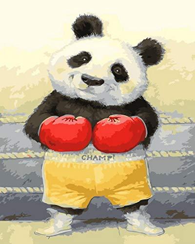 Presione el número de pintura al óleo para la decoración del hogar Presione el número de pintura pintura al óleo boxeo panda-Enmarcado