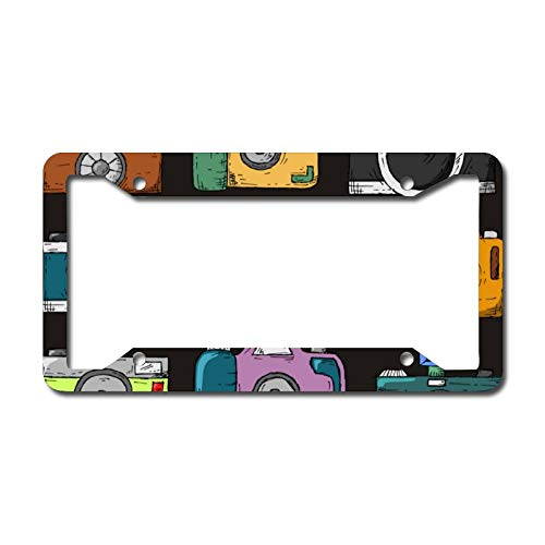 Car License Plates Frames Bricolbri Camera for US Canada Automotive Accessory Colorful Retro Vintage Tags for Women Best Gift