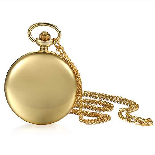 JewelryWe Herren Damen Taschenuhr Classic Glänzend Kettenuhr Analog Quarz Uhr mit Halskette Kette Umhängeuhr Pocket Watch Geschenk Gold