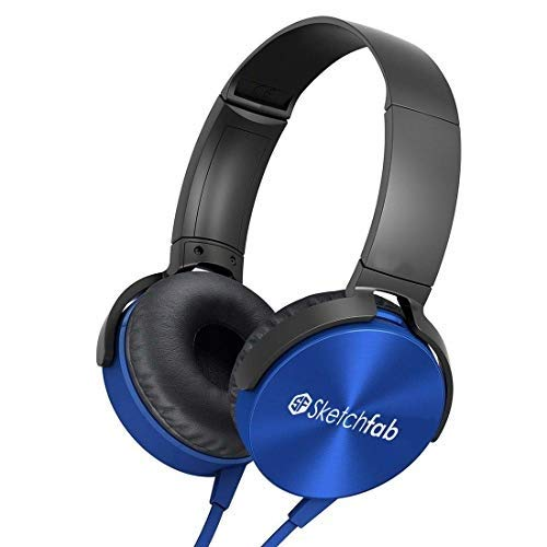 Sketchfab Extra bass Headphones Over The Ear Headset with Deep bass (Blue)
