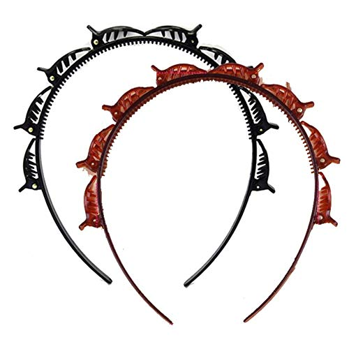 Frisurenhilfe Haarreif mit Klammern, Gothic Punk Haar Styling Doppelknall Frisur Haarnadel Doppelter Pony Twist Haarband Clips (C)