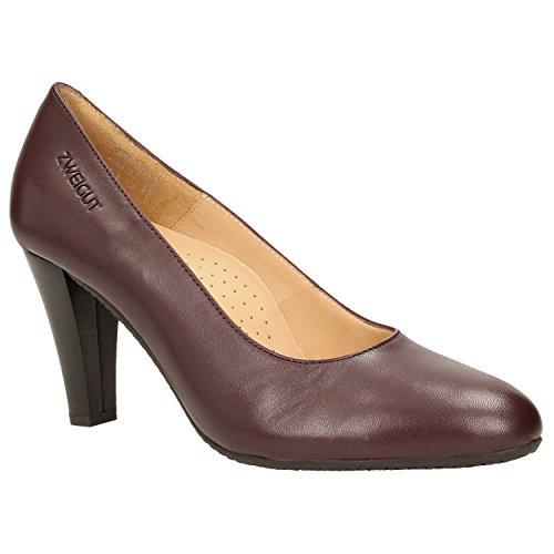 Zweigut® -Hamburg- smuck #215 Damen Leder Pumps Nappaleder Sommer Business Schuhe Komfort Laufsohle, Schuhgröße:40, Farbe:weinrot