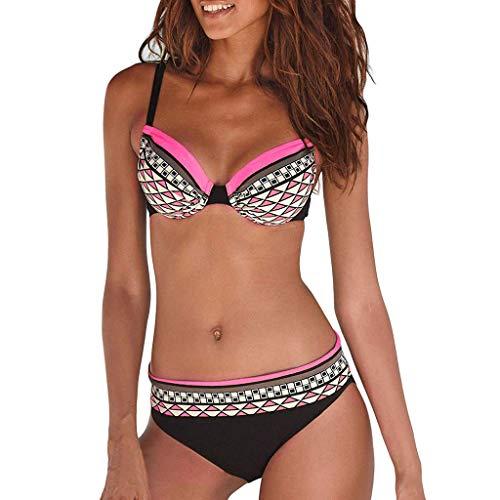 Bikini de Mujer Tie Lato Thong Baño Suit Capestro Tribal Azteco Disfraz de baño Hawaii Color Bloccare Rosa ❤️ XL