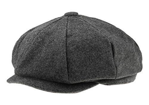 Classic 8 Panel Wool Tweed Newsboy Gatsby Ivy Cap Golf Cabbie Driving Hat, #61 Gray