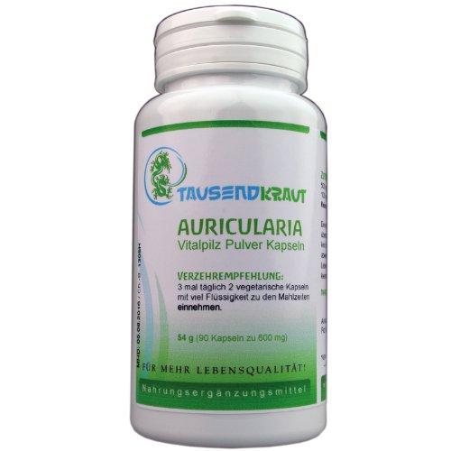 Auricularia Pulver (90 Kapseln) Nahrungsergänzungsmittel - Vitalpilz [Auricularia Polytricha] Tausendkraut