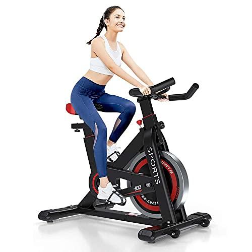 Dripex Bicicleta estática de interior para gimnasio en casa con monitor de frecuencia cardíaca, pantalla LCD, sensor de pulso, volante bidireccional, bicicleta de ejercicios con transmisión por correa