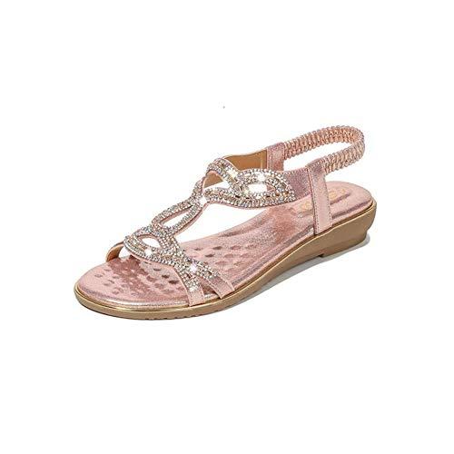 WoJogom Sandalias De Mujer con Diamantes De Imitación De Verano Pendiente Bohemia con Zapatillas Casuales De Gran Tamaño para Mujer Chanclas Rosa